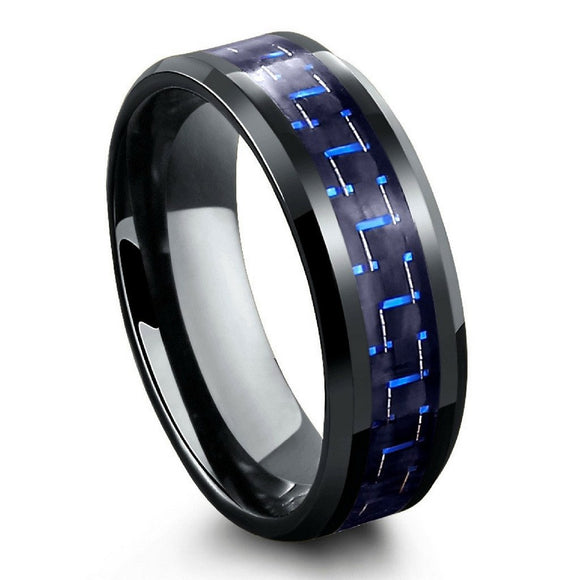 Tungsten 8mm Black Ion Plated Beveled Edge Ring with Black & Blue Carbon Fiber Inlay