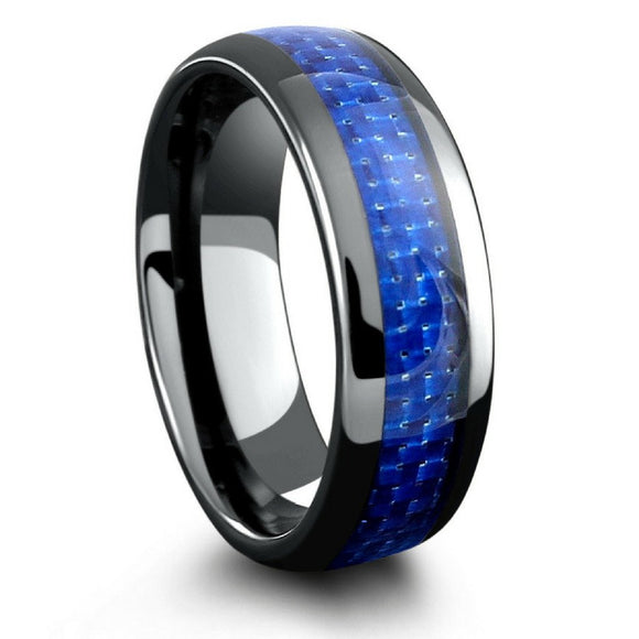 Black Ceramic Wedding Ring with Blue Carbon Fiber Inlay