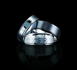 Tungsten 8mm High Polished with Mahogany Wood Inlay and Beveled Edges