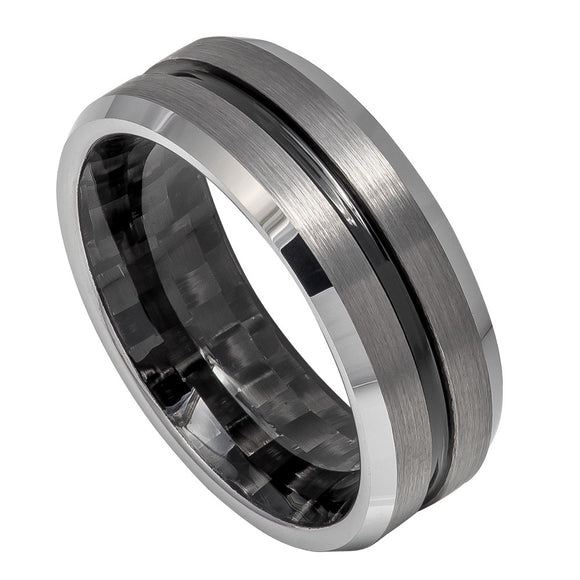 Tungsten Black Ion Plated Center Black Carbon Fiber Sleeve 8mm Wedding Band RIng