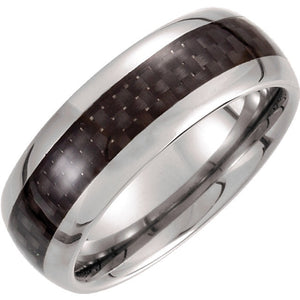 Tungsten 8mm Domed Band with Carbon Fiber Inlay