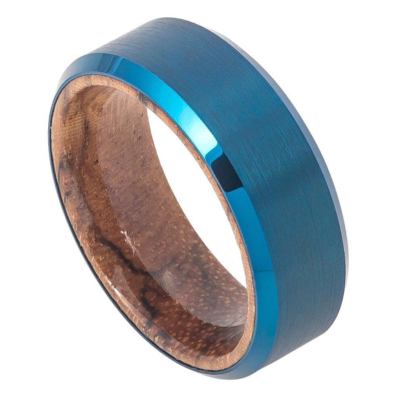 Tungsten 8mm Blue Ion Plated with Mahogany Wood Sleeve