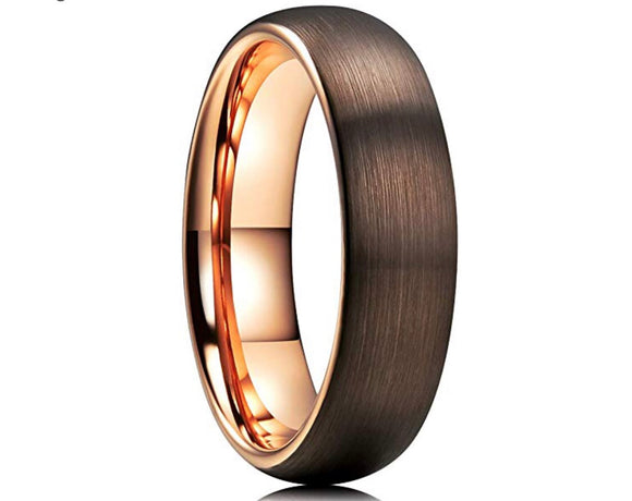 Tungsten 6mm Brown & Rose Gold Ion Plated Domed Band