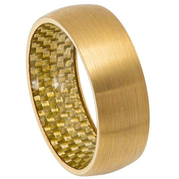 Tungsten 8mm Brushed Yellow Gold Ion Plated with Yellow Gold Carbon Fiber Sleeve Inlay