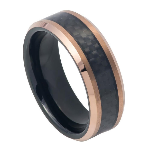Tungsten 8mm Black Carbon Fiber Inlay with Rose Gold Beveled Edge
