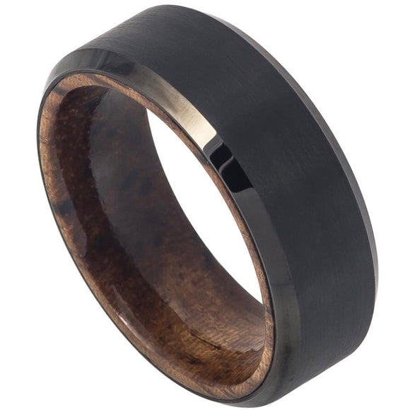 Tungsten 8mm Black Ion Plated with Mahogany Wood Sleeve