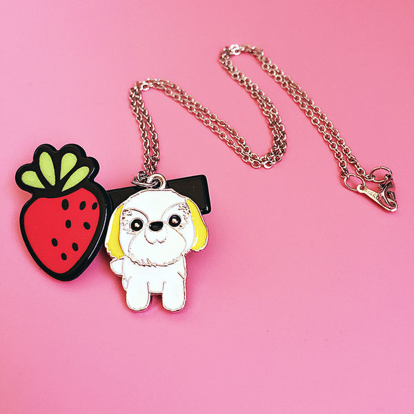 Cute White & Yellow Shih Tzu Necklace - Posh Puppies Boutique