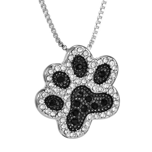 Crystal Rhinestone Paw Print & Heart Necklace - Posh Puppies Boutique