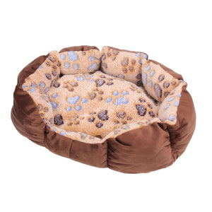 Fleece Paw Print Dog Bed - Posh Puppies Boutique