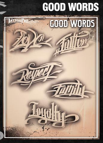Wiser's Good Words AirBrush Tattoo Pro Stencil