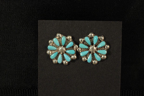 Zuni Turquoise Flower Post Earrings
