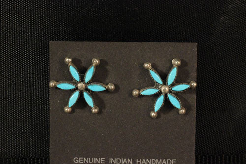 Zuni Turquoise Neelepoint Pinwheel Earrings