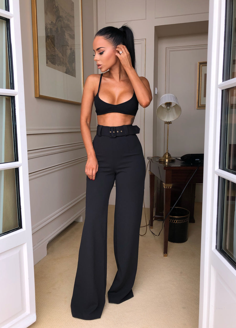Lilly Belted Palazzo Trousers - Black