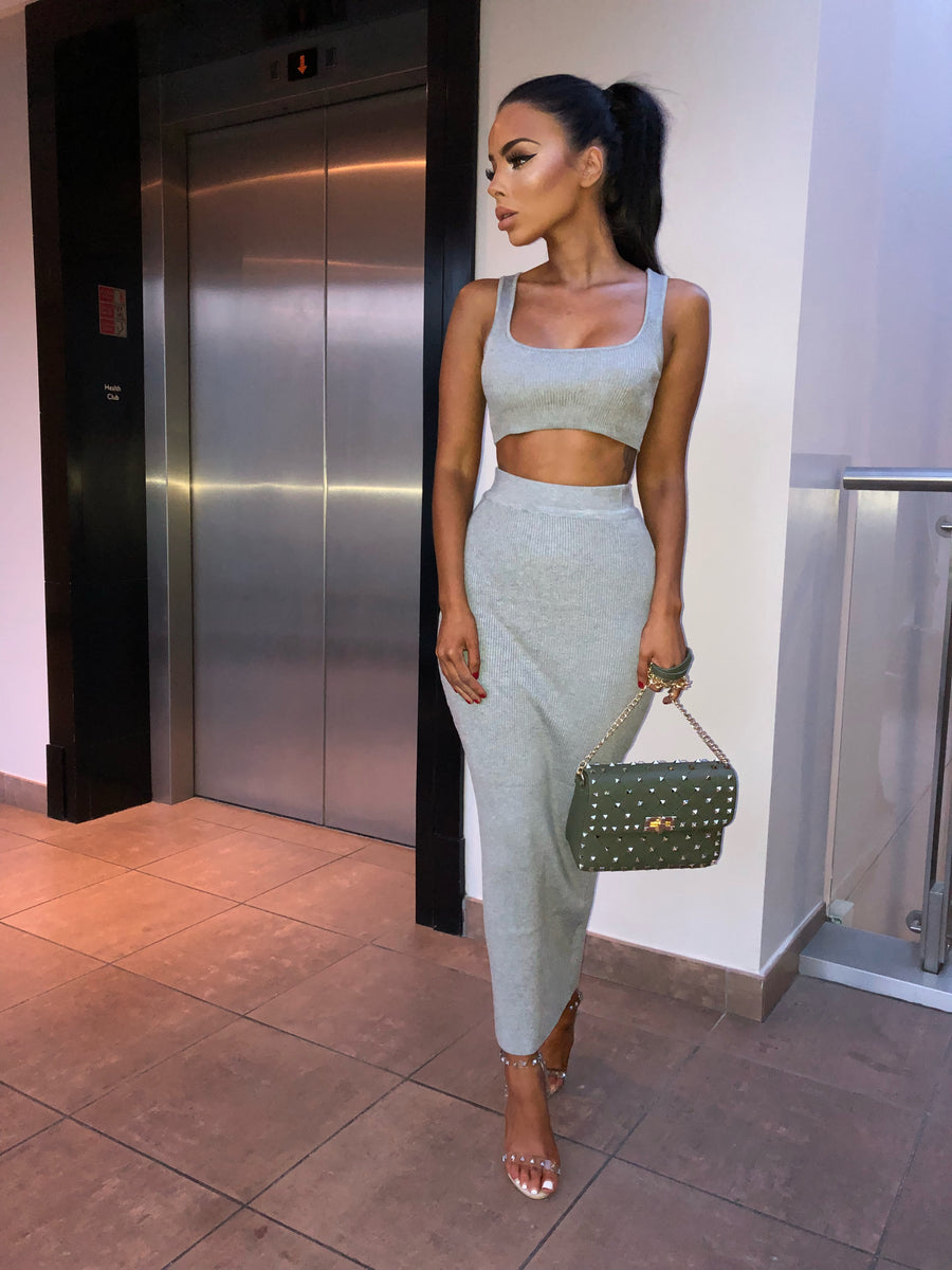 Kimberley Ribbed Two Piece- Grey
