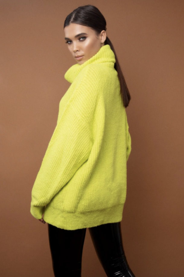 NEON CESCA OVERSIZED KNITTED JUMPER - GREEN (SALE)