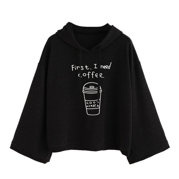 Women long Sleeve Black Hooded Sweatshirt Pullover