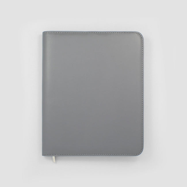 Image of a grey diary cover on a grey background