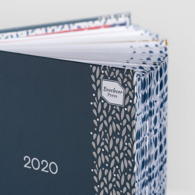 Blue A5 Life Book organiser for 2020 with silver foil floral detail on the cover and coloured inside tabbed pages