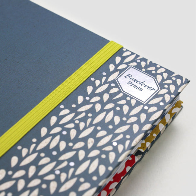 Close up of the A5 2020 Life Book diary blue cover, silver botanic pattern and lime green bandeau