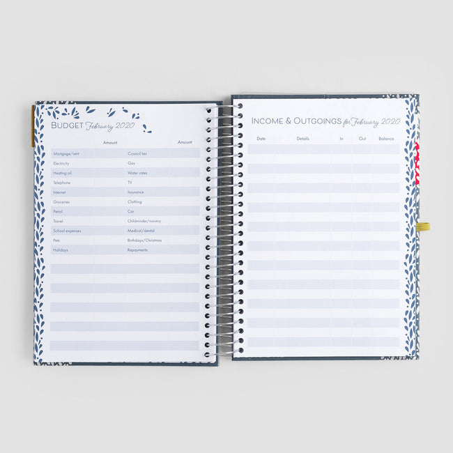 Open Life Book diary showing ring bound design and budgeting pages with blue cover