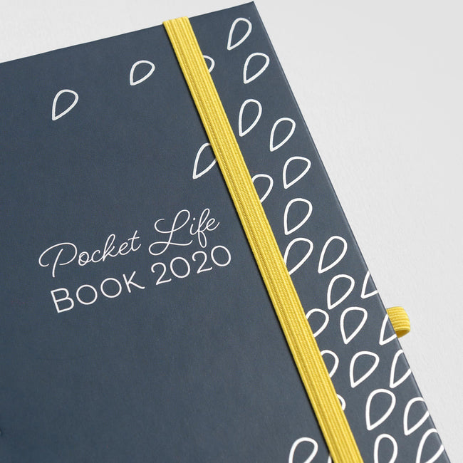 Close up of the 2020 Pocket Life Book diary from Boxclever Press with blue cover and yellow bandeau