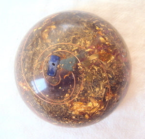 TB Orgone Dome, Space Enhancer, lapis and green tourmaline