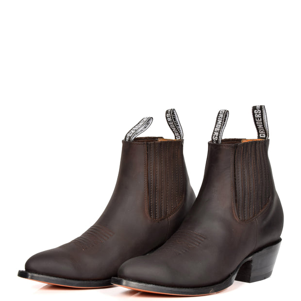 Real Leather Pointed Toe Chelsea Ankle Boots AMA79 Brown Pair 2