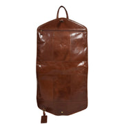 Luxury Leather Suit Carrier Bag Dress Garment Cover Finley Chestnut Back Open