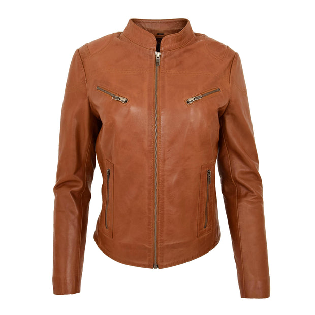 Womens Fitted Leather Biker Jacket Casual Zip Up Coat Jenny Tan
