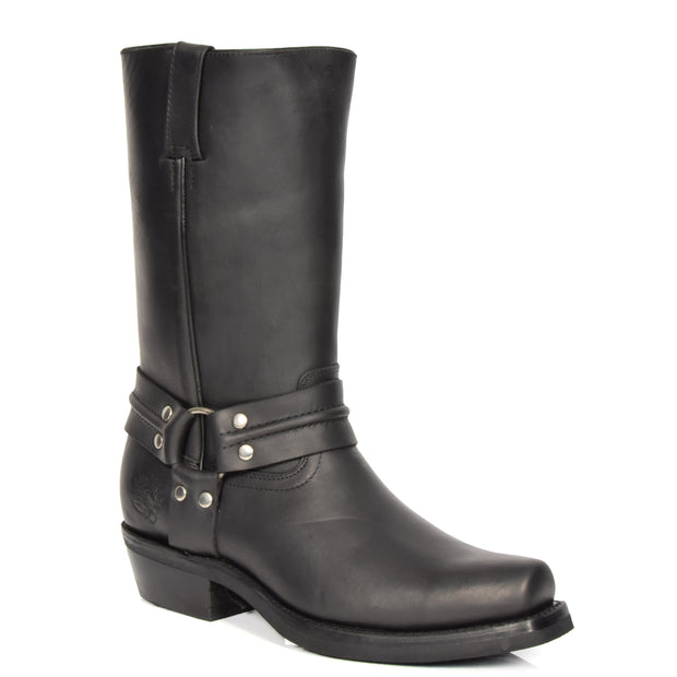 Real Leather Square Toe Cowboy Biker Boots AR69 Black