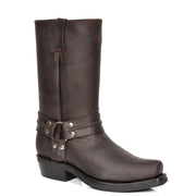 Real Leather Square Toe Cowboy Biker Boots AR69 Brown