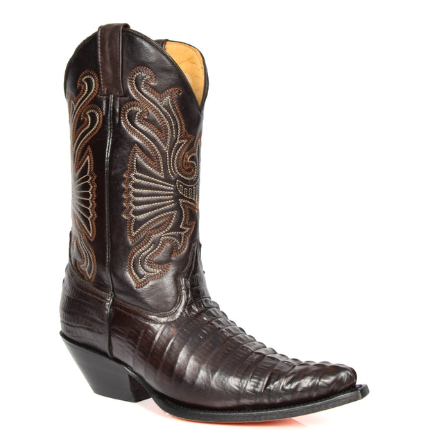 Real Leather Pointed Toe Croc Print Cowboy Boots AC229 Brown