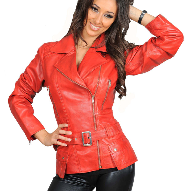 Womens Fitted Mid Length Biker Leather Jacket Hannah Red Front