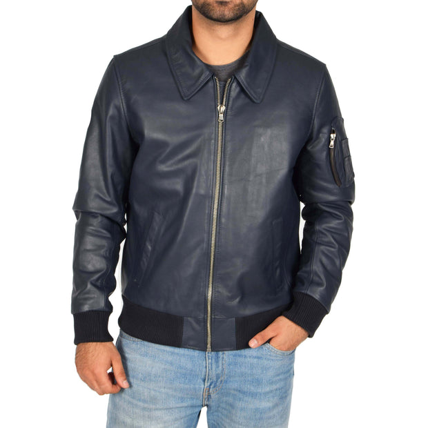 Mens Real Cowhide Bomber Leather Pilot Jacket Lance Navy