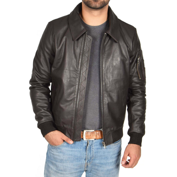 Mens Real Cowhide Bomber Leather Pilot Jacket Lance Brown Open
