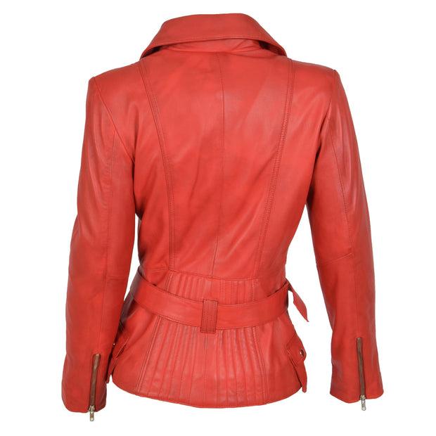 Womens Biker Leather Jacket Slim Fit Cut Hip Length Coat Coco Red Back