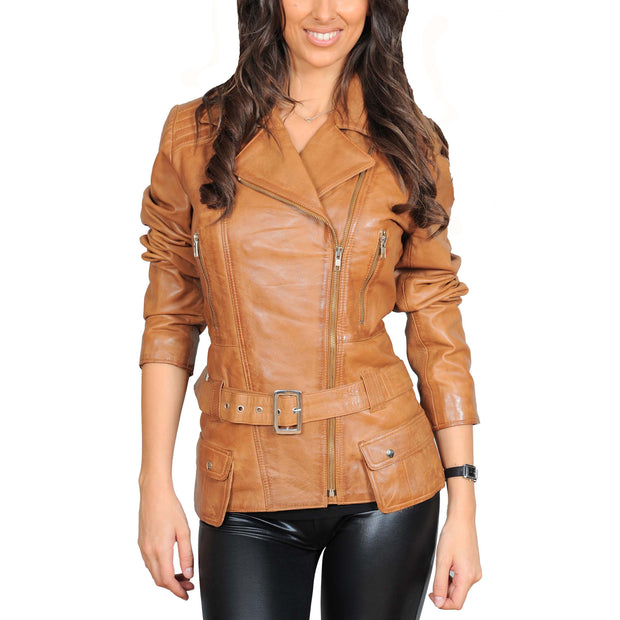 Womens Fitted Mid Length Biker Leather Jacket Hannah Tan