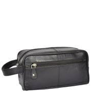 Real Leather Black Wash Bag Toiletry Shaving Cosmetic Pouch Carter Front Angle