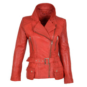 Womens Biker Leather Jacket Slim Fit Cut Hip Length Coat Coco Red Front 2