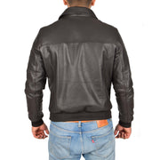 Mens Real Cowhide Bomber Leather Pilot Jacket Lance Brown Back