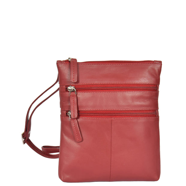 Womens Cross-Body Real Leather Shoulder Travel Bag A606 Red Front