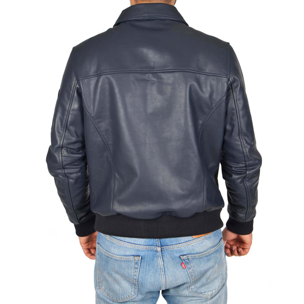 Mens Real Cowhide Bomber Leather Pilot Jacket Lance Navy Back