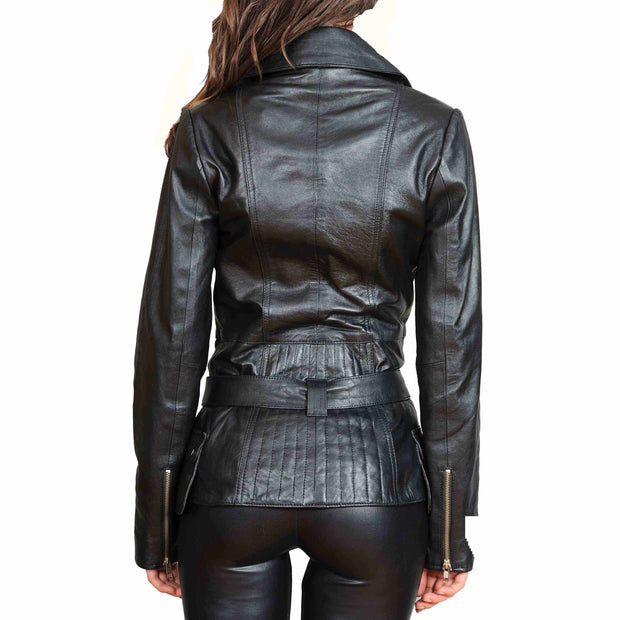 Womens Fitted Mid Length Biker Leather Jacket Hannah Black Back