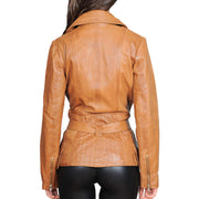 Womens Fitted Mid Length Biker Leather Jacket Hannah Tan Back