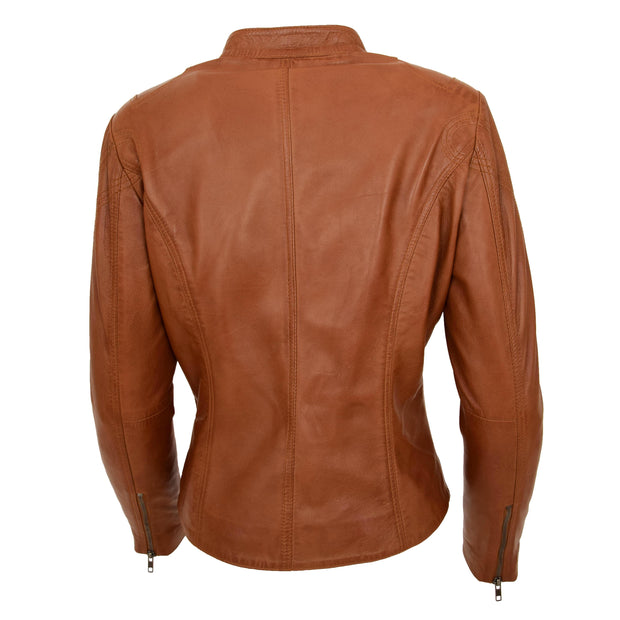 Womens Fitted Leather Biker Jacket Casual Zip Up Coat Jenny Tan Back