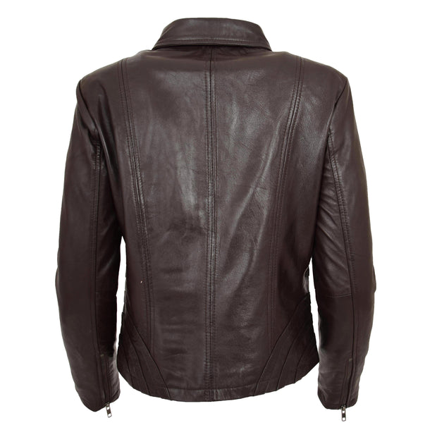 Ladies Soft Leather Jacket Fitted Collared Zip Fasten Biker Style Leah Brown Back