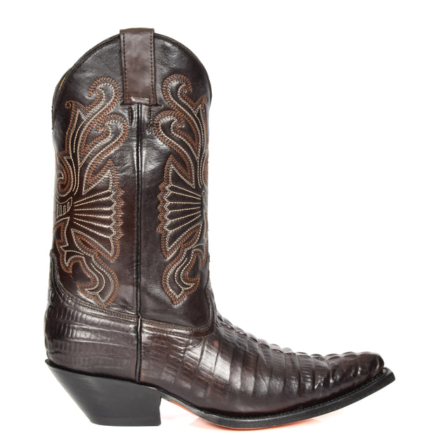 Real Leather Pointed Toe Croc Print Cowboy Boots AC229 Brown Side 1