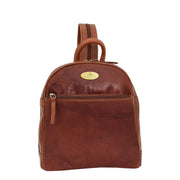 Womens Backpack Cognac LEATHER Rucksack Organiser Bag Harper Front