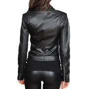 Ladies Studded Cropped Fitted Biker Leather Jacket Diane Black Back