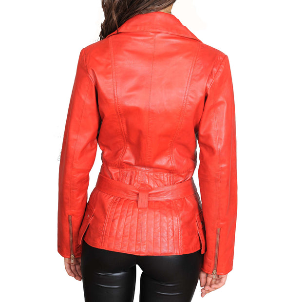 Womens Fitted Mid Length Biker Leather Jacket Hannah Red Back